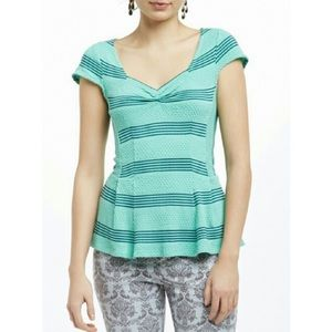 Anthropologie Postmark Stripe Fitted Peplum Top S